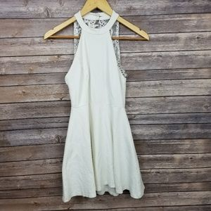 Lulu's White Fit and Flare Halter Skater Dress S